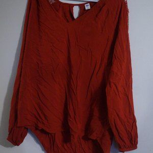 Maroon Blouse with Details on Sleeves